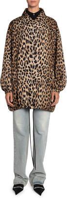 Balenciaga Leopard-Print Oversized Wind-Resistant Jacket