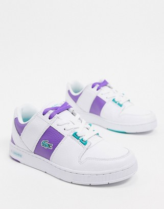 Lacoste thrill leather side stripe sneakers in white