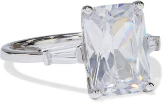 Kenneth Jay Lane Cz By Rhodium-plated Crystal Ring