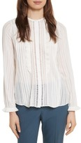 Rebecca Taylor Women's Silk & Lace Long Sleeve Blouse