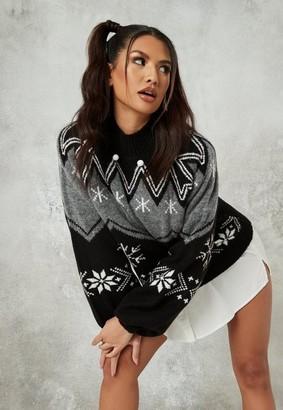Missguided Black Fairisle High Neck Christmas Sweater