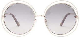 Chloé Carlina Round Metal Sunglasses - Grey