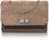 Carven Color Block Suede and Leather Flap Shoulder Bag