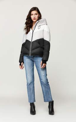 Soia & Kyo MALVINA colour block down jacket with large hood