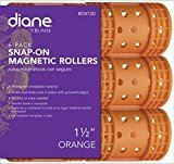 Diane Snap On Magnetic Roller, Orange, 1 1/2'', Keeps hair style in place, Holds curls, Non breakable material, For all types of hair, Hair style, Dry or damp hair.