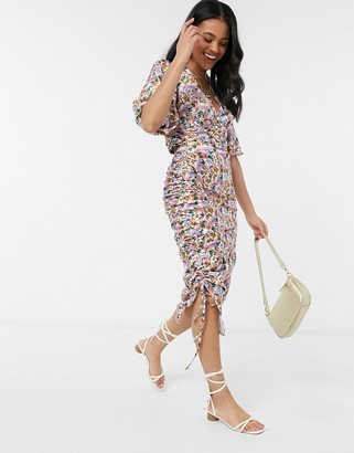 Outrageous Fortune ruched side midi skirt in lilac floral print