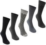 Soviet Mens Checker Socks 5 Pack Patterned Ribbed Casual Accessories
