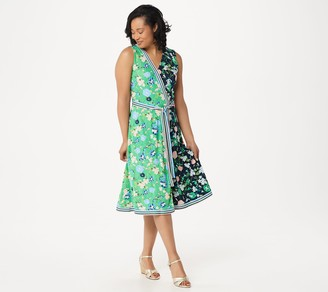 Isaac Mizrahi Live! Petite Color-Block Floral Printed Faux Wrap Dress