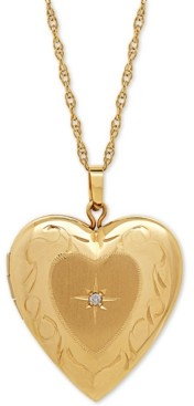 Italian Gold Diamond Accent Heart Locket Pendant Necklace in 10k Gold