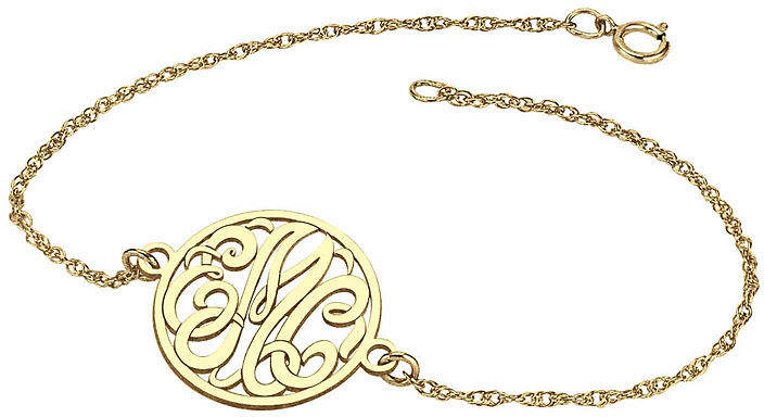 JCPenney FINE JEWELRY Personalized 10K Gold 20mm Monogram Bracelet