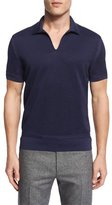 Tom Ford Textured Johnny Collar Short-Sleeve Shirt, Navy