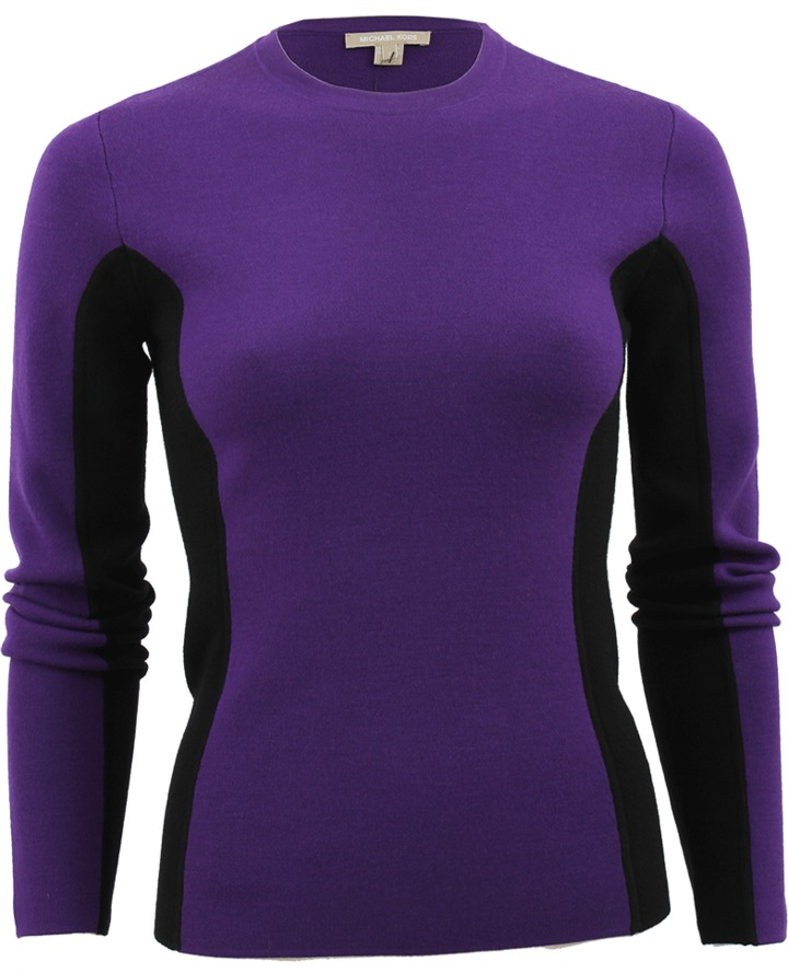 Michael Kors Long Sleeve Contrast Merino Crew Top