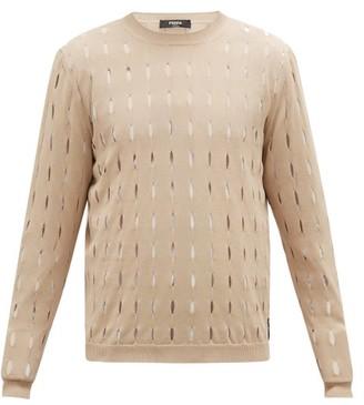 Fendi Cutout Logo-tab Cotton Sweater - Beige