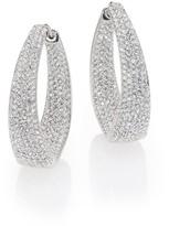 """Adriana Orsini Crystal Pave Twist Hoop Earrings/1.25"""""""