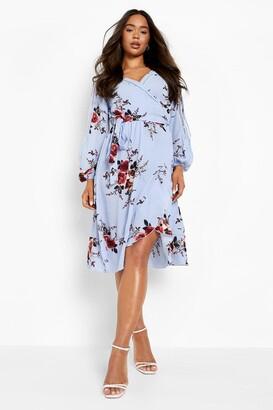 boohoo Boutique Floral Split Sleeve Wrap Dress