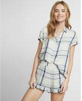 Express short sleeve plaid button-up shirt