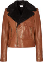 Saint Laurent Shearling-trimmed Leather Biker Jacket - Tan