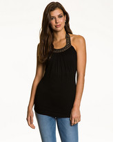 Le Château Jersey Bead Embellished Halter Top