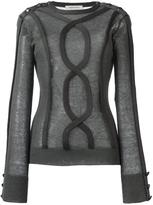 Pierre Balmain sheer cable trim jumper - women - Acrylic/Nylon/Mohair/Wool - 40