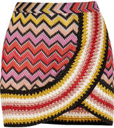 Missoni Metallic Crochet-knit Mini Skirt - Red