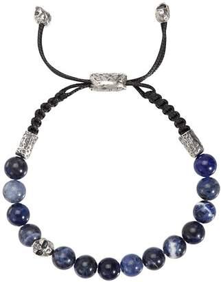 John Varvatos Collection Sterling Silver Skull & Sodalite Bead Adjustable Bracelet