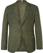 Massimo Alba Green Slim-Fit Unstructured Striped Linen Blazer