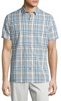 Vince Melrose Plaid Short-Sleeve Shirt, White/Blue