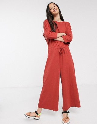 ASOS DESIGN tie waist casual jumpsuit in terracota jersey slub