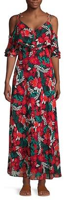 Calvin Klein Floral Cold-Shoulder Ruffle Maxi Dress