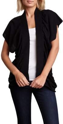 Vertigo Draped Short Sleeve Linen Blend Cardigan
