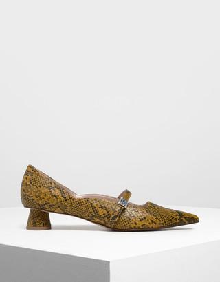 Charles & Keith Snake Print Gem Embellished Cylindrical Heel Mary Jane Pumps
