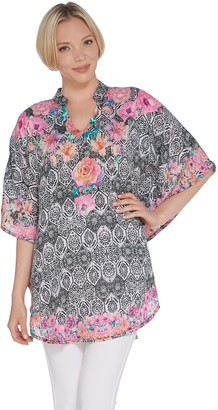 Tolani Collection Mandarin Collar Printed Woven Caftan Tunic