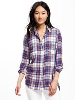 Old Navy Relaxed Plaid Drapey-Twill Shirt for Women