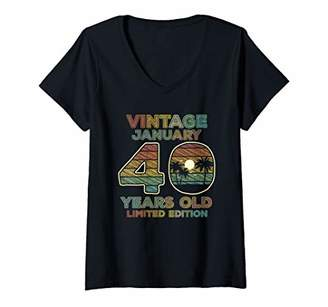 Womens 40th Birthday Gift Vintage January 1980 Forty Years Old V-Neck T-Shirt