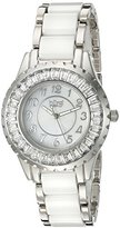 Burgi Women's BUR066WT Ceramic Bracelet Baguette Quartz Watch