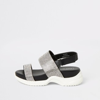 River Island Girls Black diamante chunky sole sandals