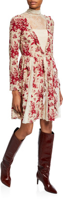 RED Valentino Floral Tapestry Lace High-Neck Long-Sleeve Dress