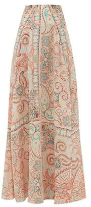 Etro Ibisco Paisley-print Silk-crepe Skirt - Womens - Light Pink
