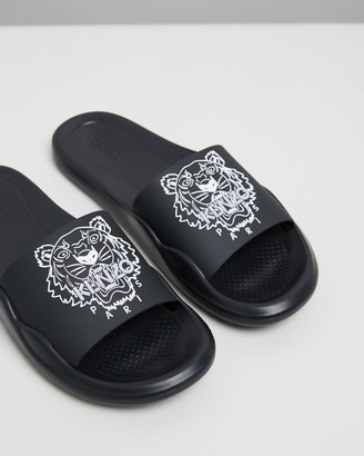 Kenzo Women's Black Slides - Tiger Head Pool Mules - Women's - Size 36 at The Iconic