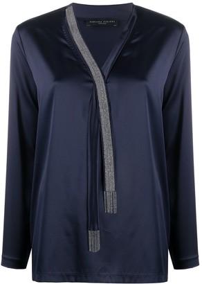 Fabiana Filippi bead chain embellished V-neck blouse