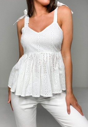 Missguided White Broderie Anglaise Bow Shoulder Strappy Smock Top