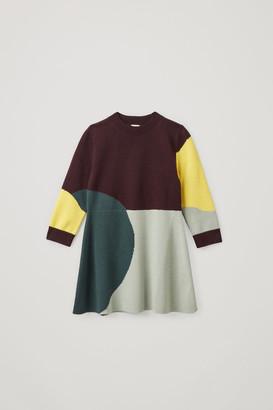 Cos Organic Cotton-Wool Mix Colour Block Dress