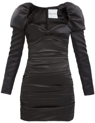 Halpern Puff-shoulder Satin Mini Dress - Black