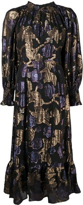Sea Floral-Jacquard Bell-Hem Dress