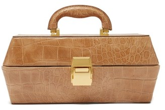 STAUD Lincoln Crocodile-effect Leather Box Bag - Womens - Camel