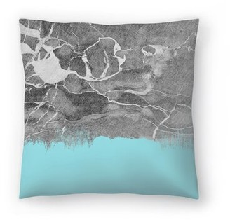 "East Urban Home Crayon Marble With Light Blue Throw Pillow East Urban Home Size: 14"" H x 14"" W x 1.5"" D"