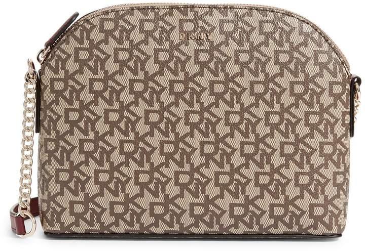 DKNY Corrie Dome Logo Leather Crossbody Bag
