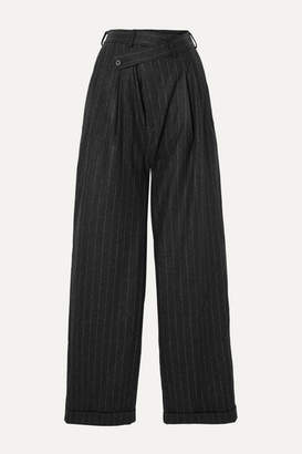 R 13 Pleated Pinstriped Wool Wide-leg Pants - Black