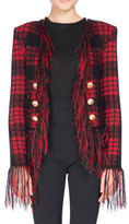 Balmain Tartan Tweed Jacket with Fringe, Black/Red