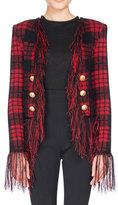 Balmain Tartan Tweed Jacket with Fringe, Black/Red